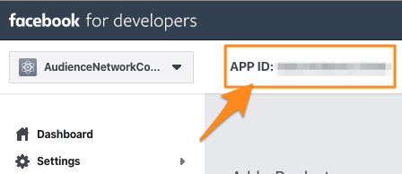 "Orange arrow points to the ""APP ID"" section in the app dashboard. Copy this for the next steps"