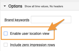"""Orange arrow points to checkbox option to """"Enable user location view"""""""