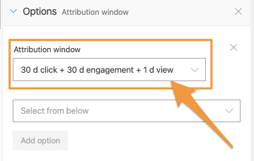 "Orange arrow points to active ""Attribution window"" setting with a specific window selected to use with the query"
