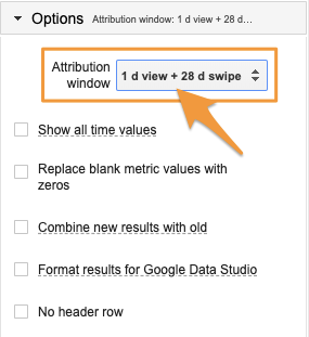 """Orange arrow points to the """"Attribution window"""" drop-down under the Sheets """"Options"""" menu."""