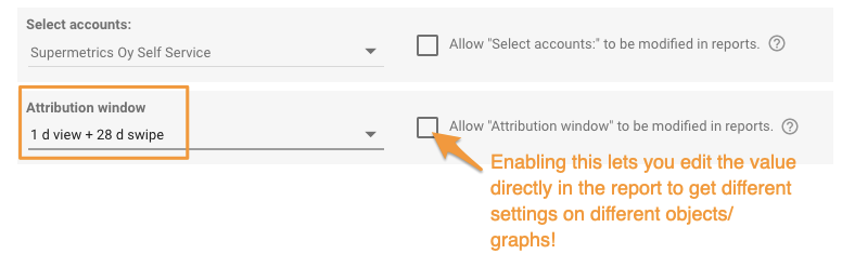 "Orange box highlights the ""Attribution window"" drop-down and an orange arrow points to the check box next to it to allow you to edit the value in the report directly."