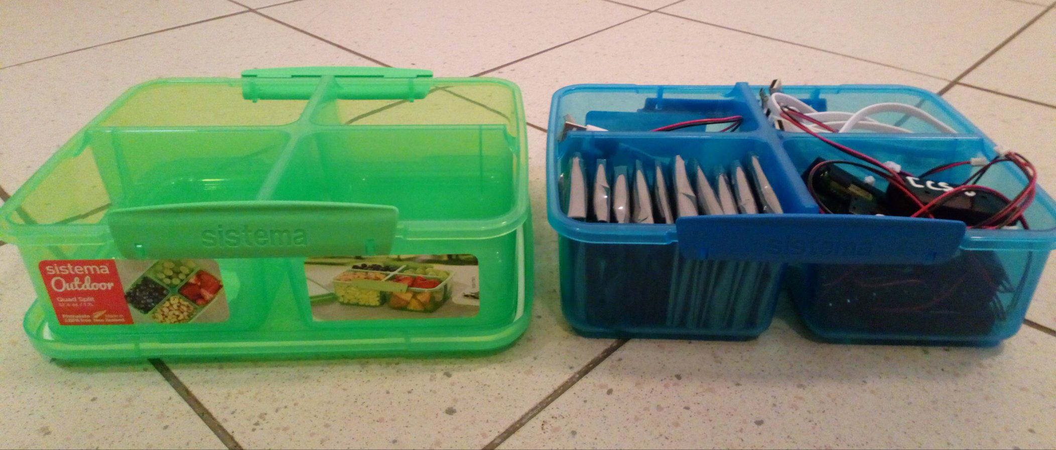 tupperware food storage boxes with micro:bits
