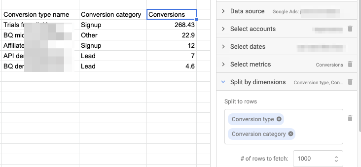 Example query in Google Sheets sidebar, showing the results for the Conversion type name, Conversion category, and Conversion metric