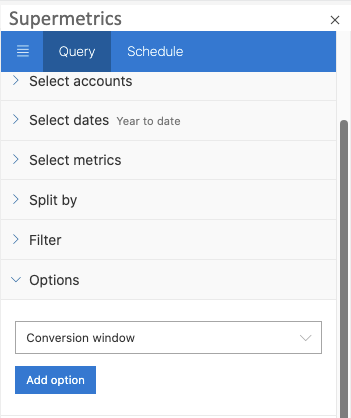 """Example of Excel sidebar, with Options section open, showing  """"Conversion Window"""" selected in the drop-down"""