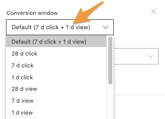 Conversion window drop-down showing various options for the Facebook Ads conversion window