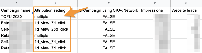 """Orange box highlights the """"Attribution setting"""" column for a Supermetrics query. It shows each attribution setting the selected campaigns have, including some as """"multiple"""" as they are for campaigns with mixed attributions"""