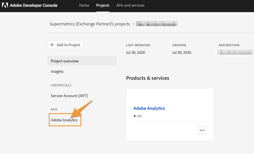 "Orange arrow points to the ""Adobe Analytics"" option under the APIS header on the left-hand column of options"