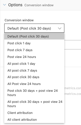 Example screenshot of the new Criteo Conversion window setting in Google Sheets