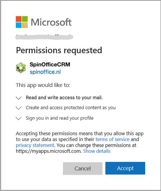OAuth 2.0 permission SpinOffice