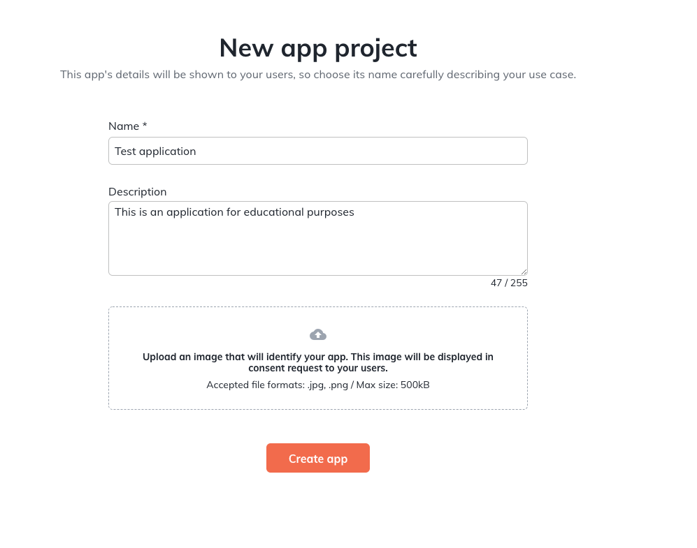 """Page for created a new app project, with text fields for the Name, Description, and a possible image file to show. Has an orange button with white text at the bottom to """"Create app"""""""