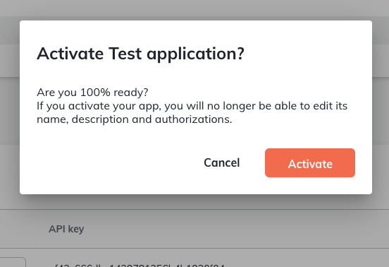 """Confirmation pop-up to activate your app. Pressing the orange button with the white text """"Activate"""" will complete the setup."""