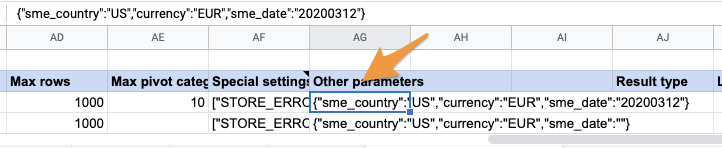 """Orange arrow points to value in """"Other parameters"""" column in the SupermetricsQueries tab"""