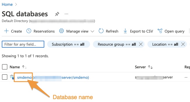 """Orange arrow points to the database name """"smdemo"""" which will be used for login"""