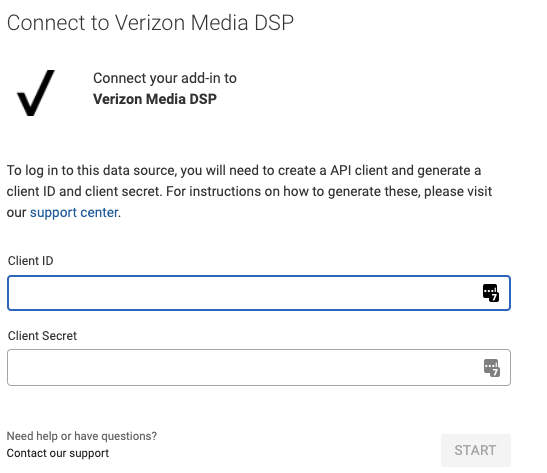 Login screen for Verizon Media DSP, showing the Client ID and Client Secret fields required.