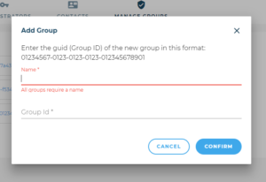 Adding a group name and GUID