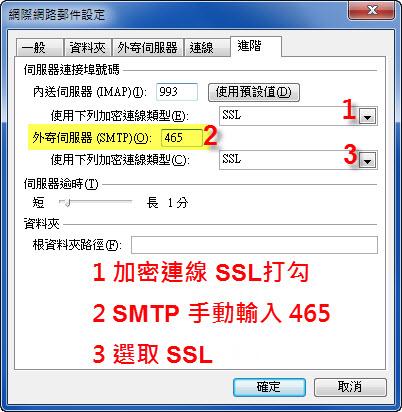 IMAP SSL 加密連線設定
