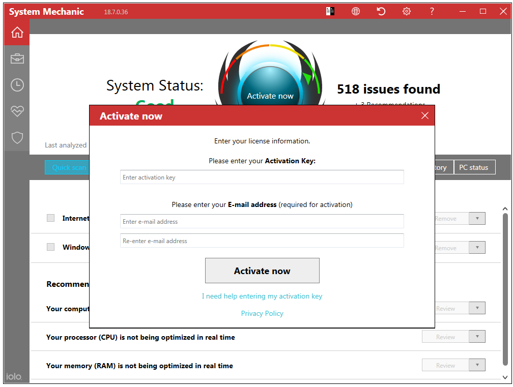 How do I activate my System Mechanic 18 7 product with an