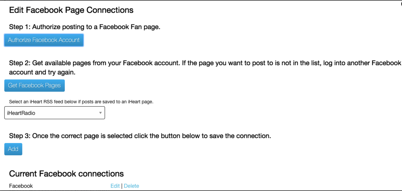 Facebook Page Connections Form