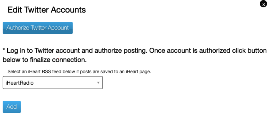 Edit Twitter Accounts page