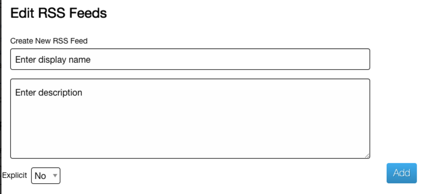 Edit RSS Feeds Form