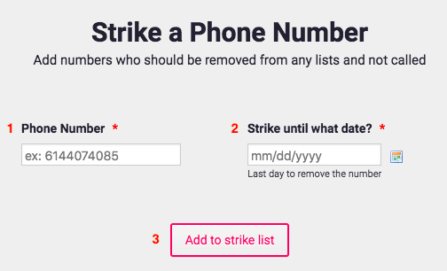 Strike a Phone Number