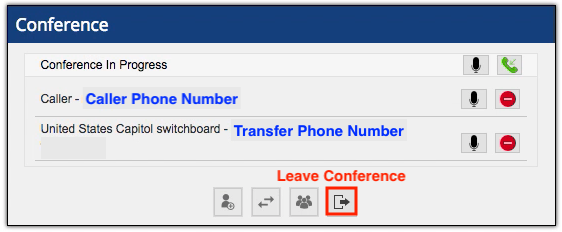 The leave conference button is at the bottom of the conference window - situated farthest to the right in a group of four buttons.