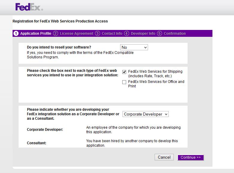 FedEx web services registration