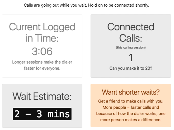If you are waiting between calls, we provide information about your logged in time, your total connected calls, and your current estimated waiting time between calls.