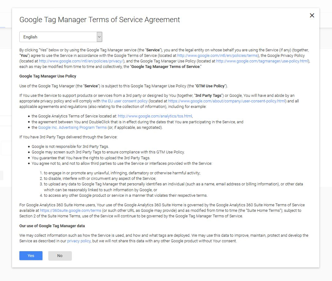 google tag manager service agreement
