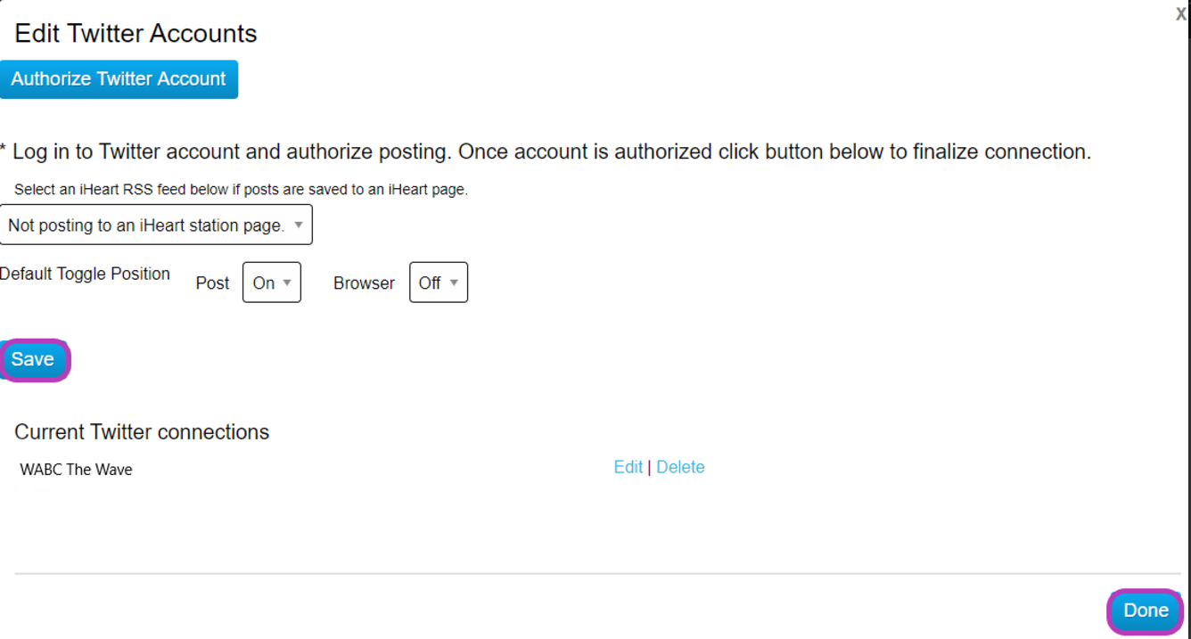Edit Twitter Accounts form