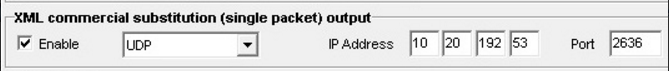 image of XML Commercial Substitution -  single packet output screen