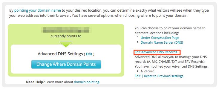 Edit Advanced DNS Records
