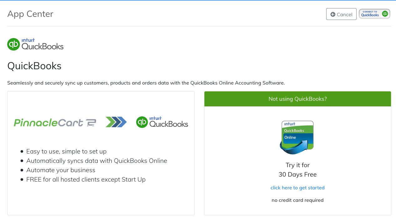 connect to QuickBooks icon