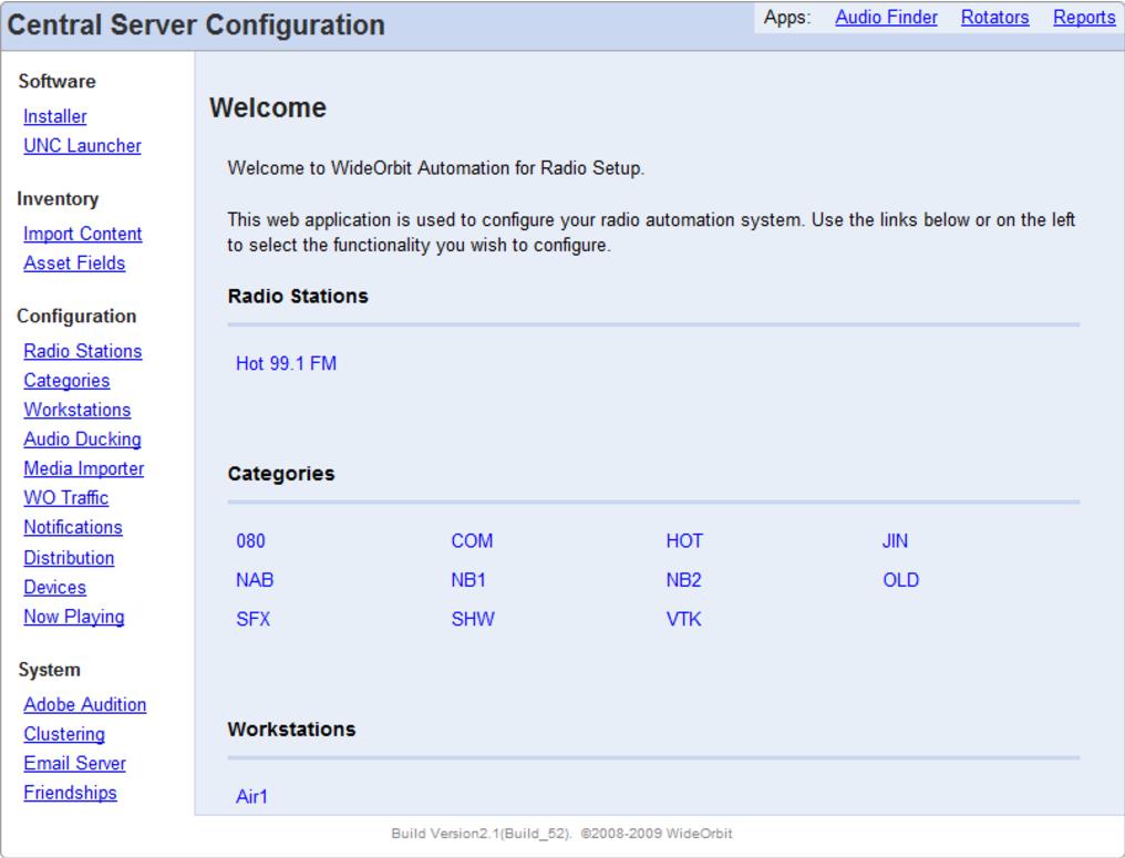 Central Server Configuration Screen