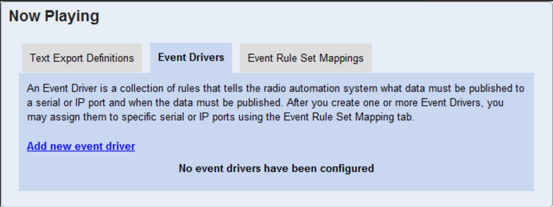 Now Playing/ Event Drivers Tab