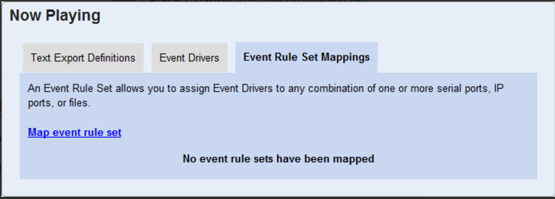 No Playing - Text Export Definitions - Event Drivers - Event Rule Set Mappings screen