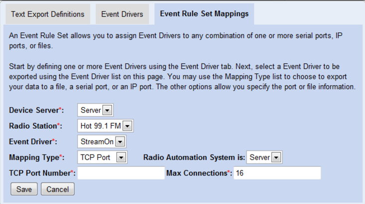 Event Rule Set Mappings Screen