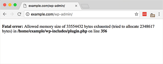 Memory exhausted error displayed on a WordPress site