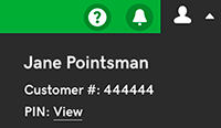 login menu expanded to show customer number