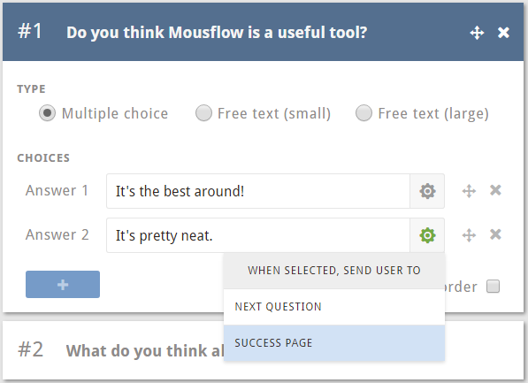 Feedback multiple choice