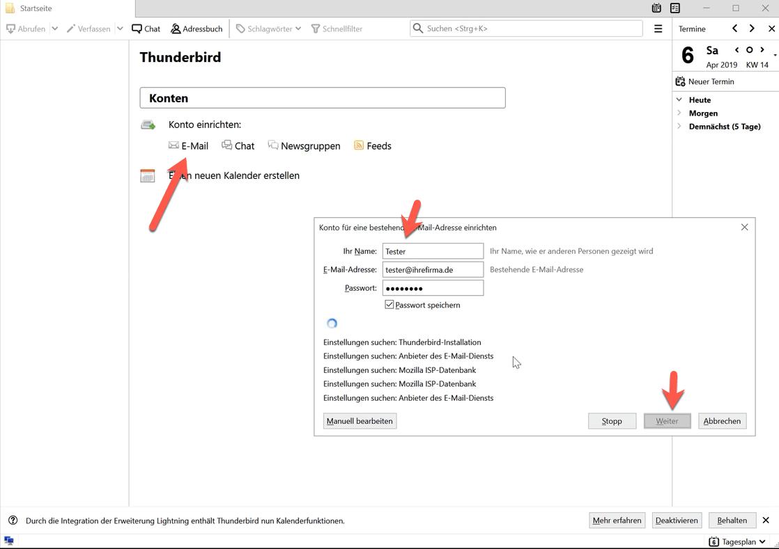 Mail Setup with Thunderbird : webhoster de AG