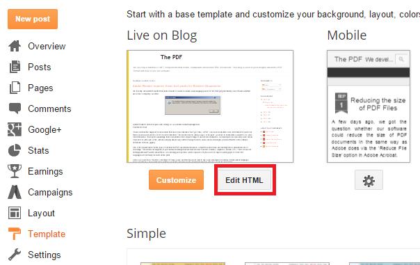 Blogger integration
