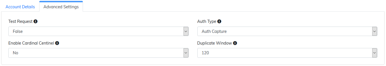 authorize.net advanced settings