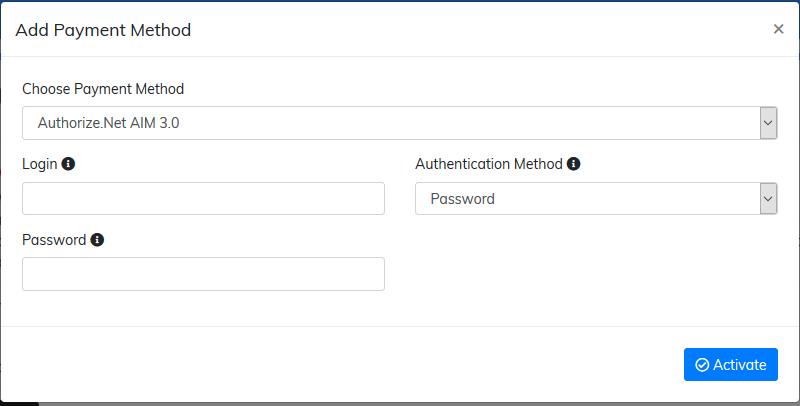 activate Authorize.Net AIM 3.0