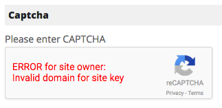 Fix captcha error Invalid domain for site key : PinnacleCart