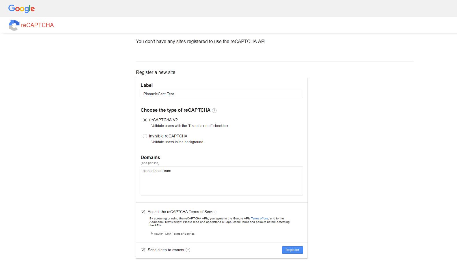 reCAPTCHA register