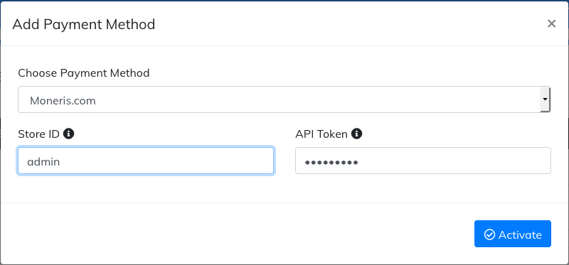 activate moneris payment method