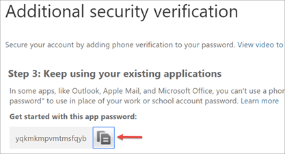 Image of the copy icon to copy the app password to your clipboard.