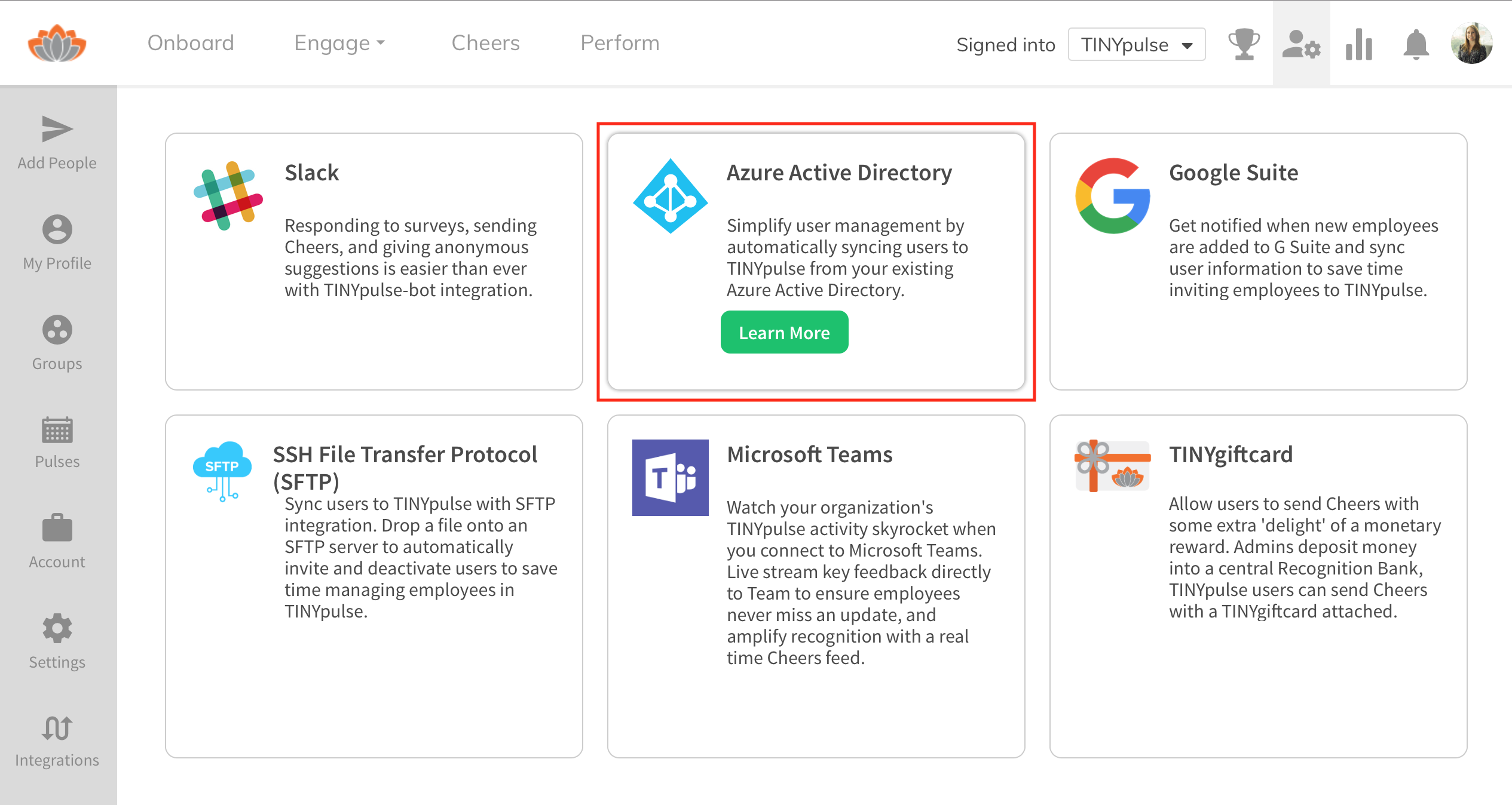Integrate with Azure Active Directory : TINYpulse