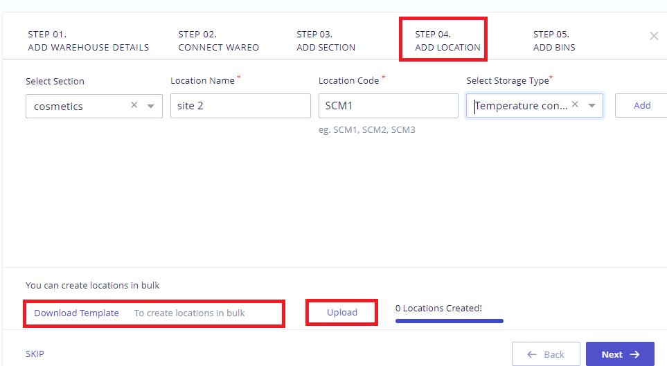 Bulk location upload- existing warehouse
